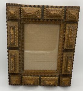 Vintage 1900s Tramp Art Photo Frame 5 Layer Chip-Carved Wood 11 1/2 X 9 1/2 Size