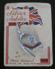 King George V & Queen Mary Silver Jubilee Wishbone Pin on Original Card