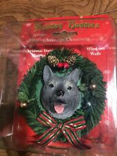 Nib Holiday Buddies Christmas Ornament Norwegian Elkhound Wreath