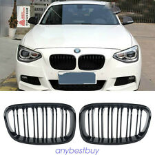 ABS Plastic Front Kidney Grill 2-Line For BMW F20 1 Series 2011-2014 Gloss Black