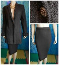 St. John Collection Knits Brown Jacket Skirt L 12 10 2pc Suit Metallic Button