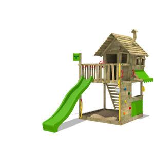 FATMOOSE Spielturm Stelzenhaus GroovyGarden Combo XXL Baumhaus Garten Rutsche