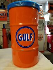 GULF OIL 1930S 1940S 1950S VINTAGE STYLE 16 GALLON COLD ROLLED STEEL TRASH CAN