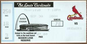 Podsednik HR #22 9/30/04 Brewers at Cardinals Ticket Stub Keith Ginter HR #34