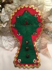 Vintage Christmas Door Handle Bells Felt Sequins Handmade Red Green Gold Foil