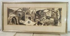 VINTAGE ABSTRACT GOUACHE CUBIST PAINTING Mid Century Modern 1950s