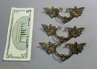 Vintage 3 french provincial brass drawer pull ornate pediment furniture