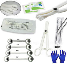 8pcs Surgical Stainless Steel Tongue Piercing Kit Forceps Body Piercing Tools