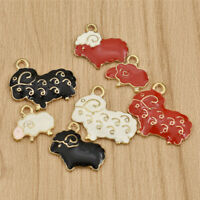 5/10 pcs Alloy Enamel Sheep Animals Pendant Charms DIY Jewelry Making Supplies