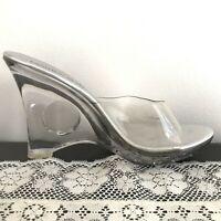 Vintage 90s Y2K Clear Cut Out Lucite Plastic Platform Heels Shoes Fashion Bug 8