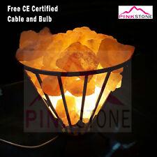 Himalayan Rock Salt Lamp Crystal Natural Healing Ionizing 2-4KG Iron Basket Lamp