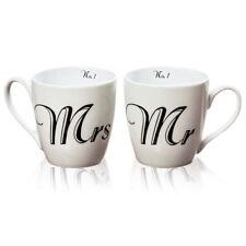Tassen 'Mr & Mrs' 2er Set weiß schwarz Geschenktasse Hochzeit Geburtstag Tasse