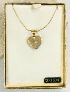 "15"" 10K Yellow Gold Heart with Diamond Locket Necklace Charm Pendant 079"