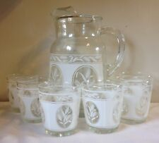 Vintage Pitcher & Glasses White Wheat Matching Pitcher & 6 Glasses Wheat Look!