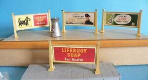 4 Hornby O Gauge Metal Station Advertising Hoardings + Unknown Make Milk Churn
