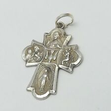 Vintage Sterling Silver 4 Way Scapular Medal Cross Charm Pendant  3.6gr