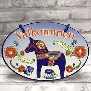 Welcome Sign Blue Dalahäst Dala Horse Plaque Door Wall Hanging Sweden Sverige