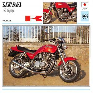 Fiche Photo Moto Japon Japan KAWASAKI 750 Zéphyr 1992 Edit Edito Service