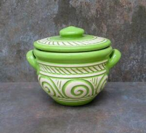 Handmade Small Vintage Ceramic Serving Green Bowl 800ml For Kitchen Cooking Tool