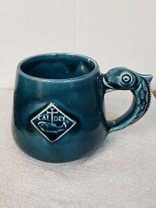 Handsome Vintage Prinknash Pottery for Caldey Blue High Gloss Cup Fish Handle