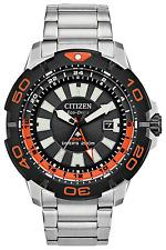 Citizen BJ7129-56E Promaster Orange Eco GMT Diver Watch 200 Meter Box & Papers