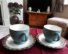 DENBY STONEWARE PAIR OF BREAKFAST CUPS AND SAUCERS l