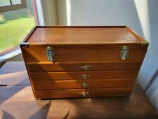 Vintage Oak Wood 21 Machinist 4 Drawer Toolbox Tool Chest