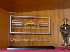 SCIENTIFIC AUDIO ELECTRONICS (SAE) ETCHED GLASS SIGN W/BASE