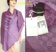 "GUCCI wool/silk Amethyst/Plum GG scarf Giant 55""-square PASHMINA shawl NWT Auth"