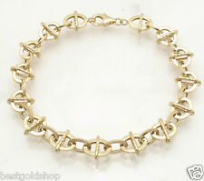 Textured Oval Link Railroad Bracelet REAL 14K Yellow Gold ALL SIZES