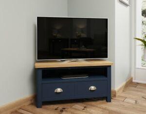 Oak City - Dorset Painted Blue Oak Corner TV Unit