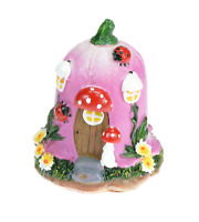 Pink Resin Fairy House 3.5 inch Toadstools Flowers D002 Miniature Garden