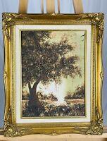 C. LEWIS PEREZ Vintage (1970s) River Landscape Impasto Oil on Canvas