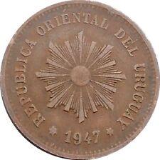 Republica Oriental Del Uruguay 5 Centésimos 1947 KM#21a Chile Mint (4579)