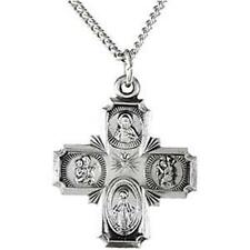 """MRT Sterling Silver Four Way Scapular Medal Pendant Cross w Necklace Gift 3/4""""L"""