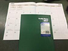 "Green Cover 2017 Monthly Desk Planner Calendar Organizer Agenda 7 1/2"" x 10"""