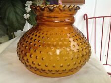 """Vintage Hurricane Lamp Shade Amber Hobnail with Ruffled Top 7"""" Fitter Holder"""
