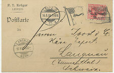 "DT.REICH ""LEIPZIG / 13"" selt. Flaggenstempel a. Auslandskarte nach ""LANGNAU"" CH"