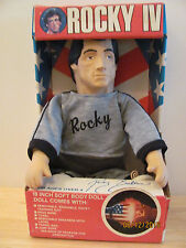 "Vintage 1986 Stallone Rocky Balboa IV 18"" soft plush / doll in box and complete"