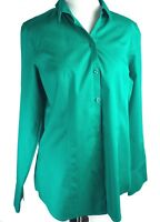 Chico's | Women Button Up Long Sleeve Shirt Blouse Green 100% Cotton | Size 1-M