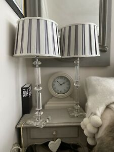 LAURA ASHLEY Large Paloma Glass Candlestick PAIR Table Lamps Grey White Shades