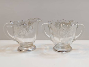 Vintage Silver City Floral Glass Footed Sugar Bowl And Creamer *