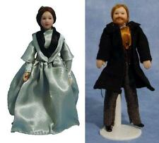 Set of 2 Dolls House Porcelain Dolls : Victorian Lady & Man Doll : in 12thScale