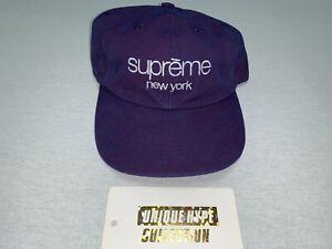[PREOWNED] SUPREME 2 TONE CANVAS 5 6 PANEL HAT CLASSIC BOX LOGO CAMP CAP BLUE