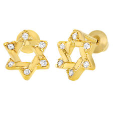 18k Gold Plated Jewish Star Of David CZ Screw Back Toddlers Girls Earrings