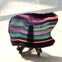 Natural Colorful Fluorite Quartz Rainbow Crystal Slice Specimen Healing+Stand