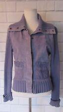 MASSINI Pig Suede Jacket Sz S Eggplant Purple Long Sleeve Chunky Knit Button
