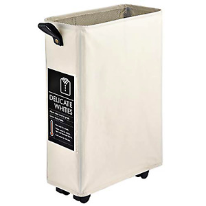 """NEW Caroeas 21"""" Rolling Slim Laundry Basket Foldable Waterproof Washing Bin"""