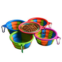 Pet Dog Portable Silicone Collapsible Travel Feeding Bowl Food Water Dish Fee EB