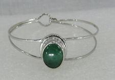 Stainless Steel hinged Cuff bangle Silver bezel Aventurine stone bracelet.
